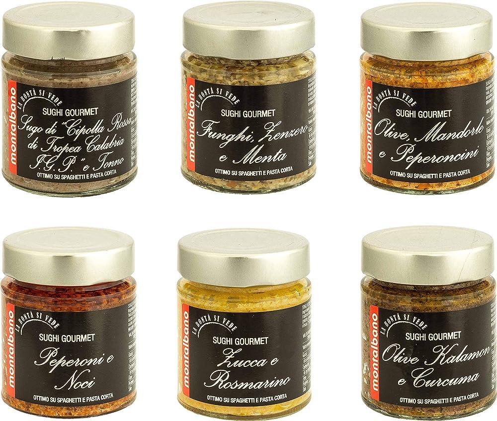 Montalbano sughi gourmet,6 vasetti di salse e sughi