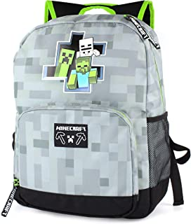 Minecraft Backpack For Boys Zombie Skeleton Kids Grey School Bag 18""