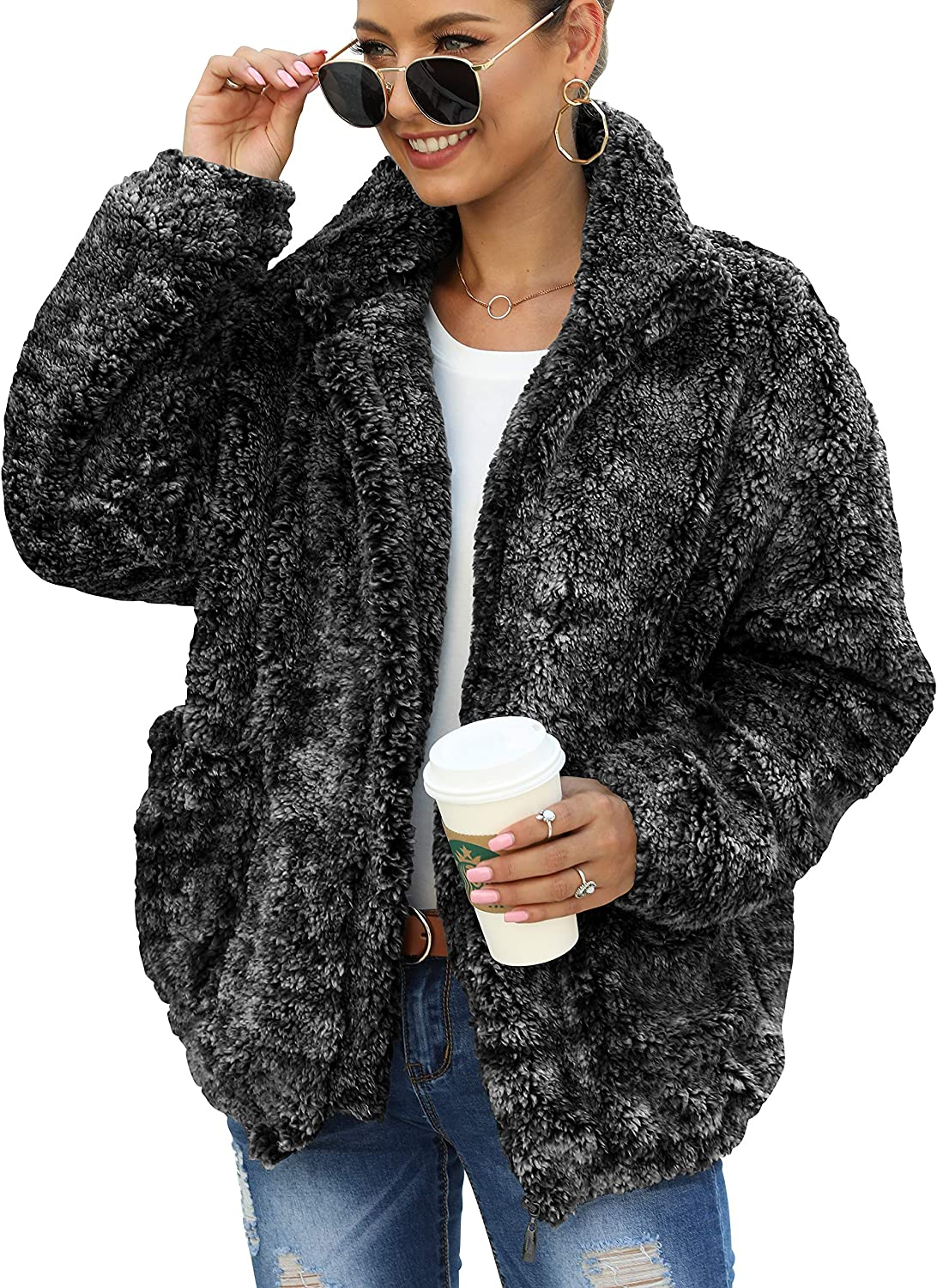 ANRABESS Womens Fashion Long Sleeves Hooded Zip Up Faux Shearling Shaggy Oversized Coat Jacket with Pockets Warm Winter