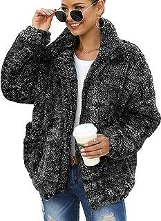 ANRABESS Women's Coat Casual Lapel Fleece Fuzzy Faux Shearling Zip Up Warm Winter Oversized Outwear Jackets Outwear Pockets