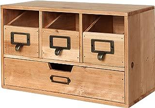 MyGift Rustic Brown Wood Desktop Office Organizer Drawers/Craft Supplies Storage Cabinet