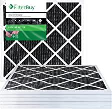 FilterBuy Allergen Odor Eliminator 20x20x1 MERV 8 Pleated AC Furnace Air Filter with Activated Carbon - Pack of 6-20x20x1