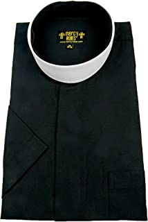 Mercy Robes Mens Black Short Sleeve Full Collar Neckband Clergy Shirt