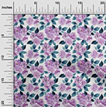 oneOone Velvet Pastel Purple Fabric Rose Buds Floral DIY Clothing Quilting Fabric Print Fabric by Yard 58 Inch Wide