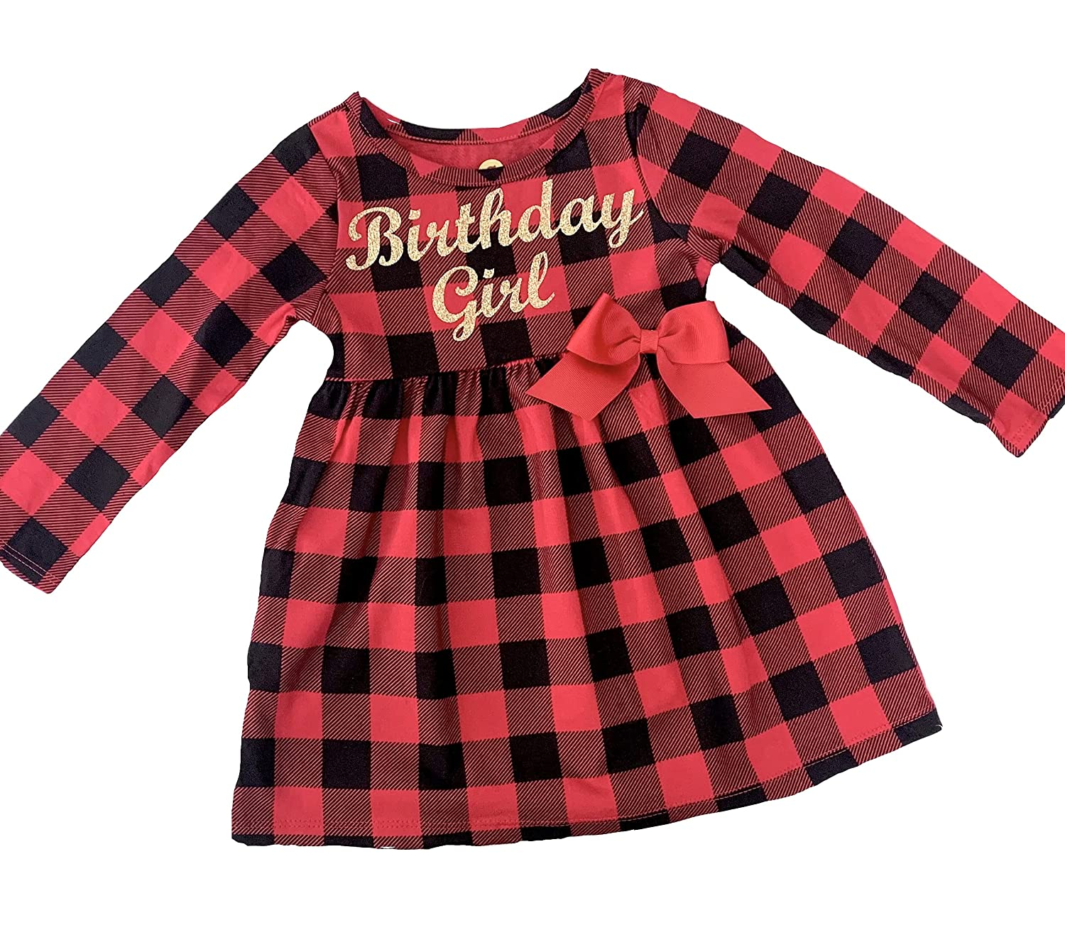 Birthday Girl Some reservation Buffalo plaid baby and knit girls toddler New Free Shipping in dress