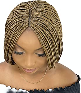 JBG SERVICES Authentic African Braided Wig, Micro Braid Wig For African American Women Lace Closure Finishing, Enjoy A Natural Look Color: 27 Light Auburn- 18 inch