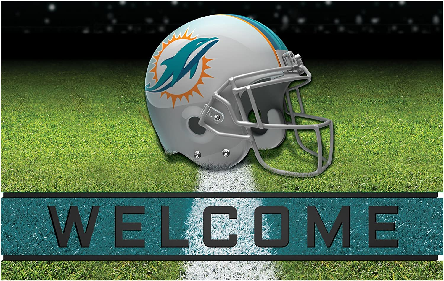 FANMATS 19949 Team Color Crumb Rubber Max 76% OFF New Free Shipping Miami 1 Dolphins Mat Door