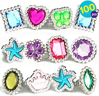 THE TWIDDLERS 100 Pcs Bulk Ring Toys | Colourful Rhinestone Gems Rings | 10 Assorted Shapes Designs Jewellery Set Dress Up Princess | Plastic Rings Accessories for Girls | Birthday Party Bag Fillers