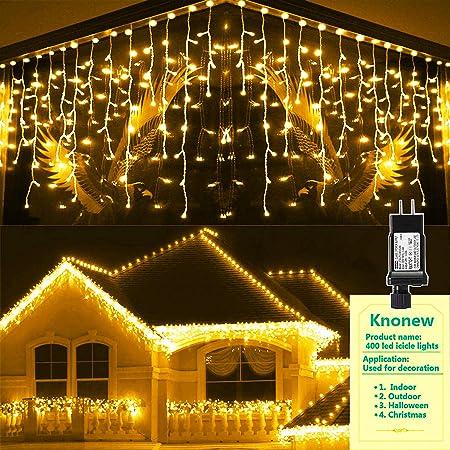 300 Warm White /& Ice White LED Multi-Function Christmas Icicle Lights