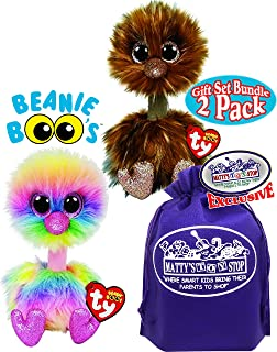 TY Beanie Boos Asha (Rainbow) Ostrich & Orson (Brown) Ostrich Gift Set Bundle with Bonus Matty's Toy Stop Storage Bag - 2 Pack