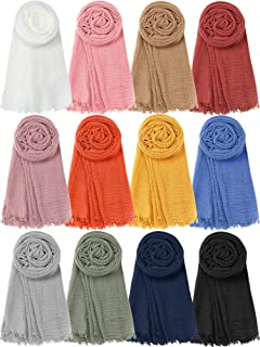 12 Pieces Long Head Wraps Scarf for Women Lightweight Shawl Turban Hijab Scarf Solid Color Soft Head Scarf for Women Girl...