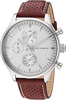 Vince Camuto Men's VC/1101WTBN Multi-Function Silver-Tone and Brown Leather Strap Watch