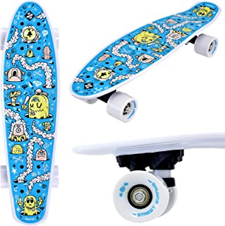 Street Surfing Fizz Fun Board, Skateboard Complete 22 Inch. Compact Size Small Cruiser Board. Smooth Wheels, Portable, Lightweight Skate Board.