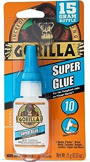 Gorilla Glue Super Glue Liquid, Fast-Setting, Versatile Cyanoacrylate Glue, Anti-Clog Cap, Flow Control Formula, Clear, 15...