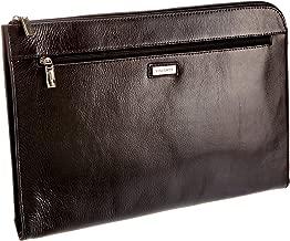 Brown Leather Folio Bag Meeting Bailiff Portfolio A4 Document Underarm Zip Case