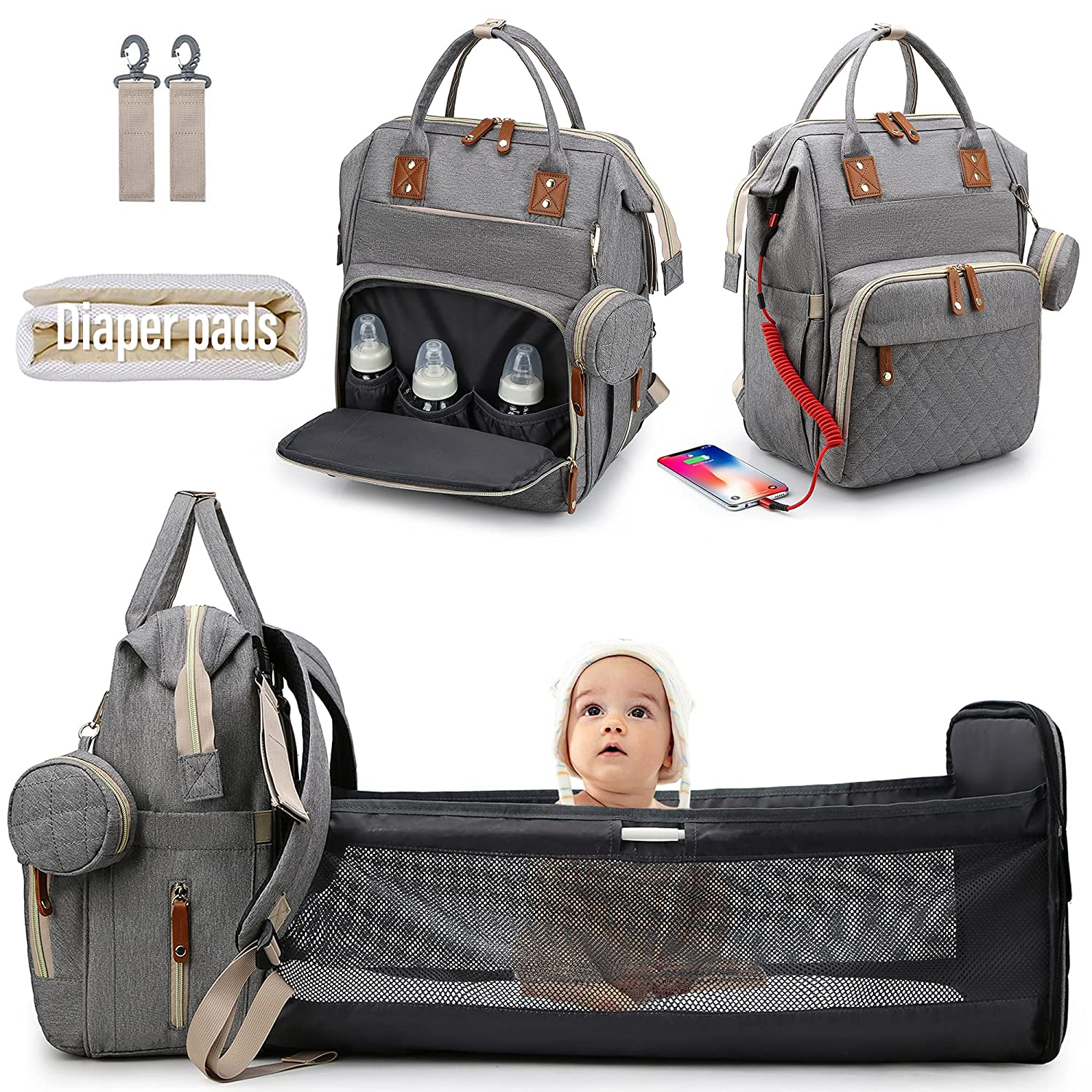 Diaper Bag Backpack for Baby Diaper Bag with Changing Station Portable Diaper Backpack Large Capacity Travel Foldable Baby Bed with USB Charge for Dad Mom Gift