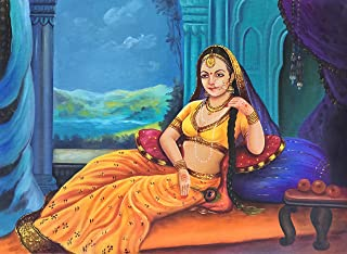 Rajasthani Portrait Damsel Painting Handmade Indian Oil on Canvas Wall Decor Art