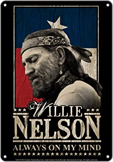 """Midsouth Products Willie Nelson Tin Sign - 8"""" X 11.5"""" - Always On My Mind"""