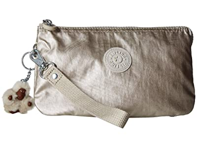 Kipling Creativity XL Printed Pouch (Cloud Grey Metallic) Clutch Handbags