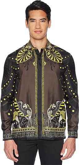 Shpinx/Horse Print Silk Shirt