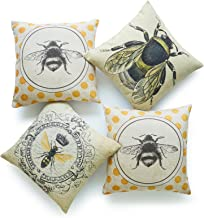 Hofdeco Decorative Throw Pillow Cover HEAVY WEIGHT Cotton Linen French Country Yellow Dots Modern Queen Honey Bee Illustration 18x18 45cm x 45cm Set of 4