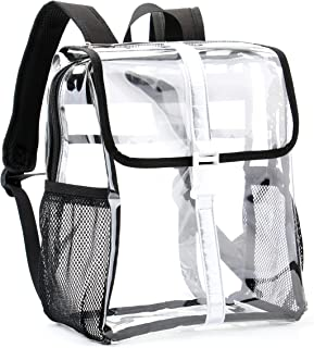JOMPARO Heavy Duty Small Clear Backpack Durable PVC See-Thru Multi-Pockets Safety Backpack Reflective Stripes Design Small Side Good for Women,Girls,School