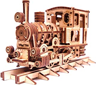 Wood Trick Train 3D Wooden Puzzle for Adults and Kids to Build - 6x4″ - Locomotive Model Kit for Adults and Kids