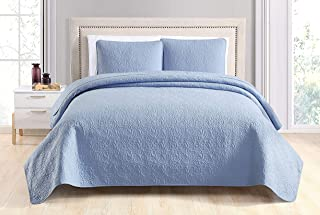 SuperBeddings Deco 2pc Bedspread Coverlet Set (Twin, Blue)
