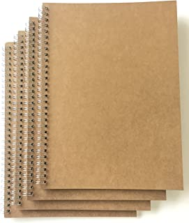 VEEPPO 4 Pack B5 Graph Grid Spiral Notebooks and Journals Bulk 7.6 x 10.4inch Kraft Cardboard Cover Thick 5mm Squared Graph Ruled White Paper (B5-4 pack 5mm Graph Paper)