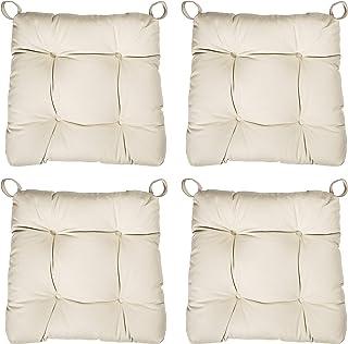 sleepling 190200 Conjunto de 4 Cojines para Silla, Dimensiones: 40 (Delante) / 35 (detrás) x 38 x 8 cm, Beige