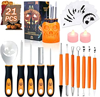 Halloween Pumpkin Carving Tools, Luxital Halloween New 21Pcs Professional Pumpkin Carving Supplies Kit Tools with Stainless Steel Knife Stencils Storage Bucket for Halloween Decoration