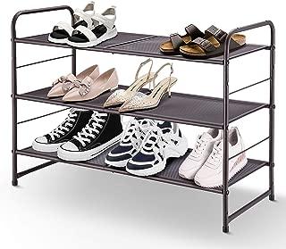 Simple Trending 3-Tier Stackable Shoe Rack, Expandable & Adjustable Shoe Shelf Storage Organizer, Metal Mesh, Bronze