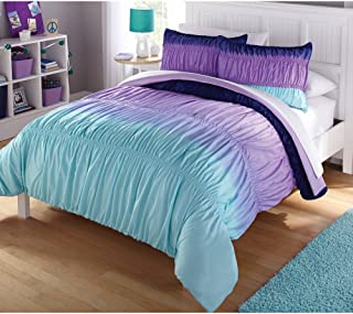 Casa Ombre Ruched Bed in A Bag Set, Twin, Blue