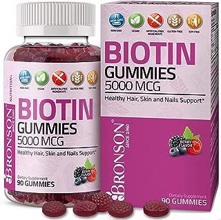 Bronson High Potency Biotin Gummies 5000 mcg Natural Hair Skin and Nails Support, Pectin-Based Vegan Non-GMO Gluten Free Soy Free Formula, 90 Count
