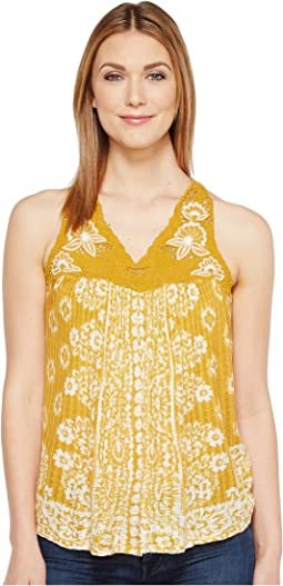 Floral Lace Yoke Tank Top