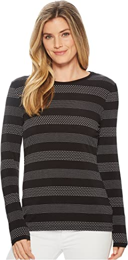 MICHAEL Michael Kors Striped Long Sleeve Crew Neck Top