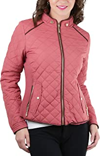 ToBeInStyle Women's Quilted Padded Jacket with Suede Piping Detail