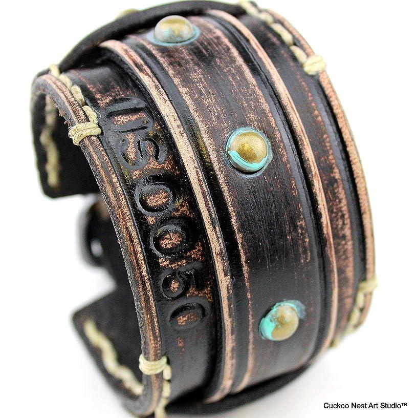 Black Leather bracelet, Distressed leather cuff, Leather wrist band, wide leather cuff, Men's bracelet
