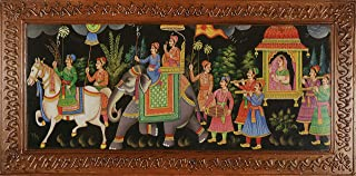 Imperial Indian Traditional Painting Depicting Royal March for King and Queen (30 cm x 61 cm)