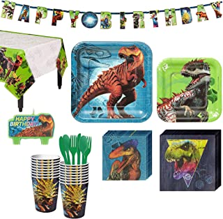 Jurassic World Birthday Party Kit, Includes Happy Birthday Banner and Birthday Candles, Serves 16, by Party City