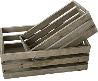 MyGift Distressed Gray Wood Nesting Boxes, Storage Crates w/Handles, Set of 2