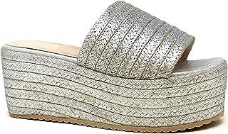 Angkorly - Chaussure Mode Mule Grosse Plateforme Claquette de Plage Femme Corde avec de la Paille tressé Talon Compensé 7 CM