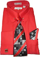 Karl Knox SX4393 Mens Hot Red Round Eyelet Collar Bar French Cuff Dress Shirt