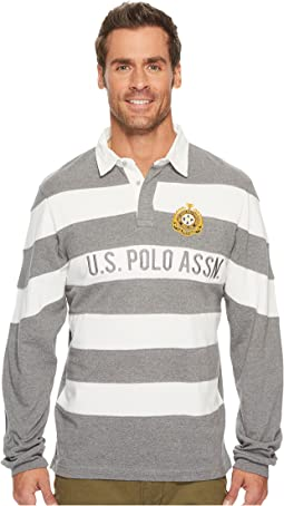 Slim Fit Color Block Long Sleeve Pique Polo Shirt