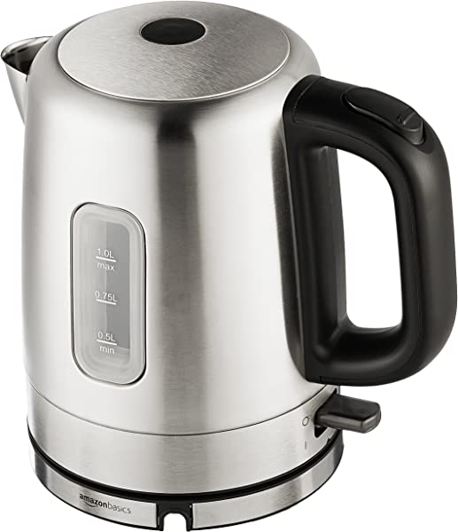 AmazonBasics Stainless Steel Portable Electric Hot Water Kettle 1 Liter Silver