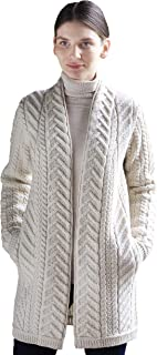 Aran Crafts Edge to Edge Coat in Natural, Charcoal, Teal Colors (Merino Wool)