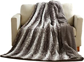 Tache 90 X 90 Inch Grey Snow Giraffe Super Soft Warm Embossed Faux Fur with Sherpa Back Throw Blanket
