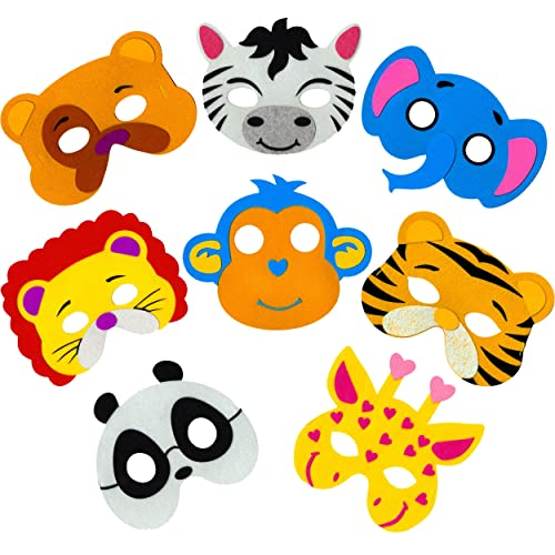 82a42948a6fc Little Seahorse Zoo Animal Masks for Kids Party - 8 Assorted Felt Masks,  Birthday Parties