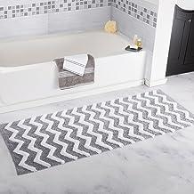 "Lavish Home Chevron Bathroom Mat, Silver, 24"" x 60"""