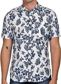 Tusok Men Short Sleeve Shirt Casual Hawaiian Flower Party Beach Vacation Aloha Printed Blue Floral Leaf on White